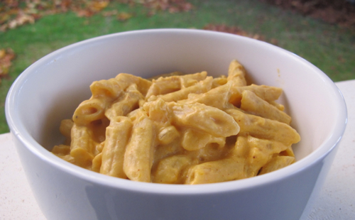 Penne with Creamy Pumpkin Sauce - Gazing In