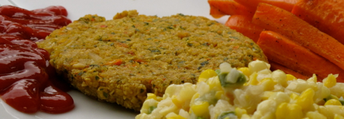 Chickpea Patties And Spicy Creamed Corn