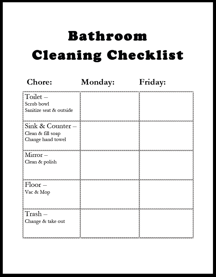 Bathroom Cleaning Schedule Inspiration Diy Bathroom Cleaning Checklist  Gazing In Inspiration
