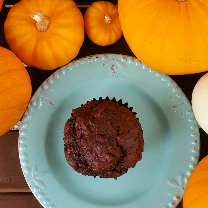The Easiest Chocolate Pumpkin Muffins Ever
